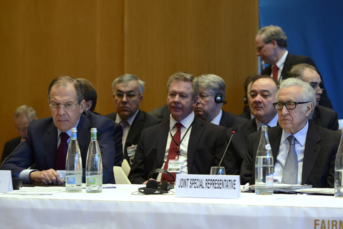 Russian Foreign Minister Sergey Lavrov, (L), and UN-Arab League envoy for Syria Lakhdar Brahimi, (R), during the opening of the so-called Geneva II peace talks in Montreux
