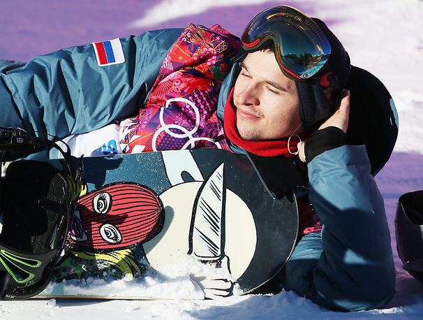 Russia's Alexey Sobolev after finishing his second run during the Men's Snowboard Slopestyle qualification at Rosa Khutor Extreme Park at the Sochi 2014 Olympic Games, Krasnaya Polyana, Russia