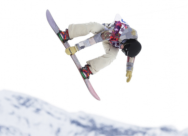 Jessika Jenson of the United States takes a jump during the women's snowboard slopestyle semifinal