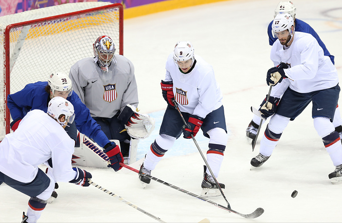 US hockey squad durin training session, Tuesday Feb. 11