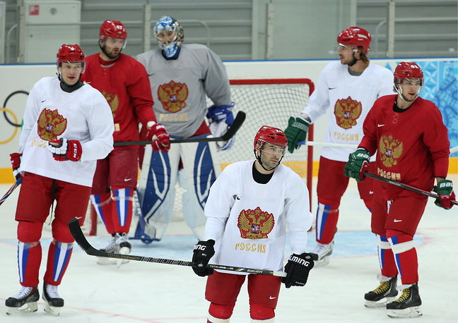 Russian men's national ice hockey team in training at the Bolshoi Ice Palace