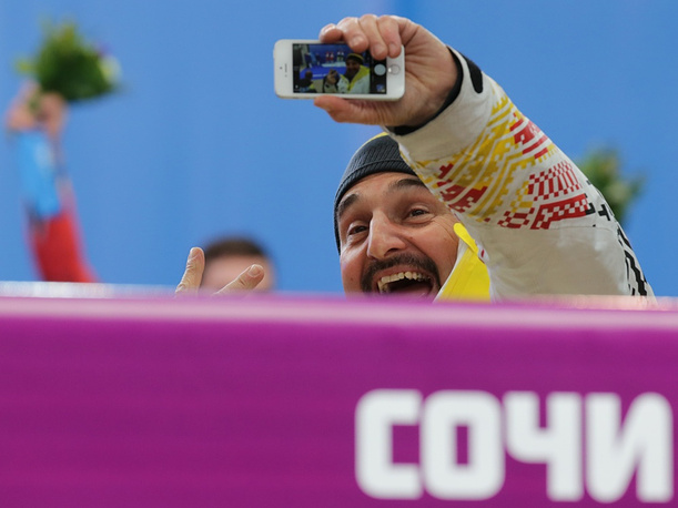 German luger Georg Hackl, the only 3-fold Olympic champion in luge history, is happy for the victory of German lugers Tobias Wendl and Tobias Artl in doubles' competition