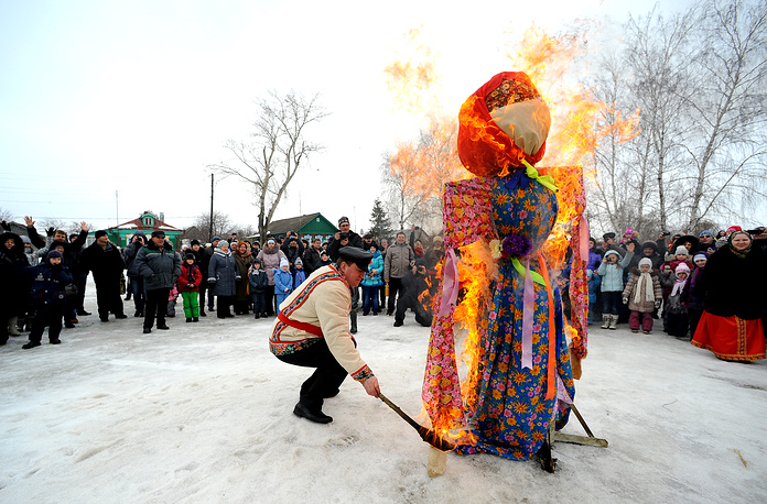 At the culmination of the holiday, on Sunday, the straw figure is burnt to symbolize the end of winter