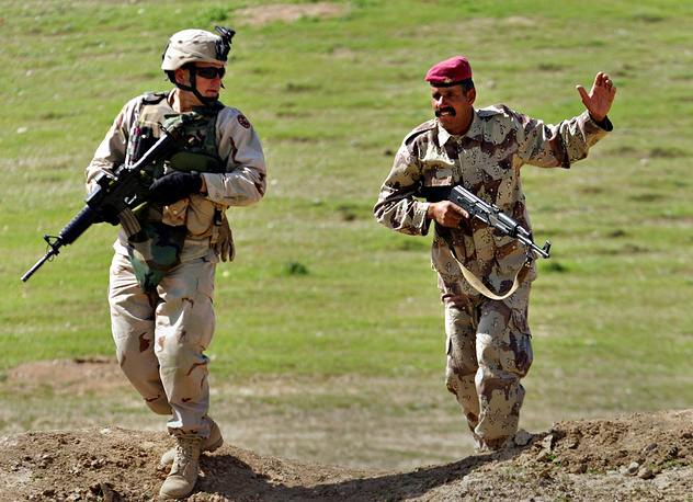 NATO military training mission in Iraq started in 2005. Photo: NATO instructor training an Iraqi recruit