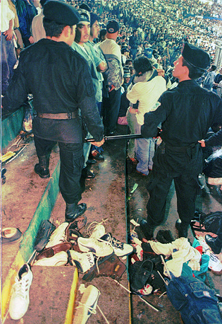 In 1996, minutes before a FIFA World Cup qualification match between Guatemala and Costa Rica at least 83 people were killed and over 140 injured when too many people were admitteed to a sector of the stadium as a result of counterfeit tickets sale
