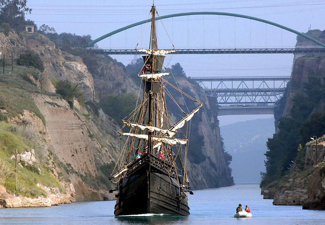 Although the canal is of little economic importance, narrow and not very long (6,4 km), it's very picturesque. Photo: a sail ship passes through the Corinth Canal