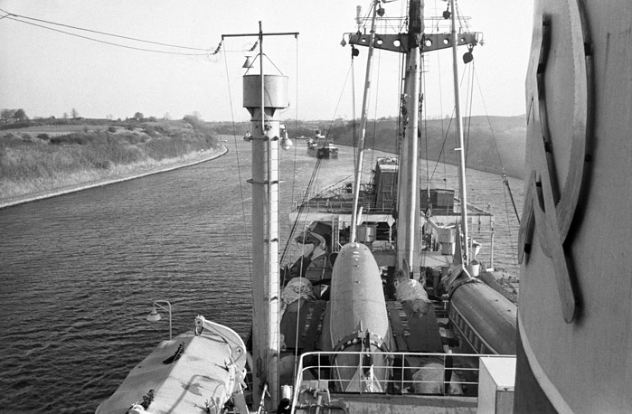 The Kiel Canal, that is 98 km long and connects the Baltic and the North seas, existed since the 18th century, but large-scale construction work began only in the end of the 19th century. Photo: a Soviet ship passes through the Kiel Canal in 1956