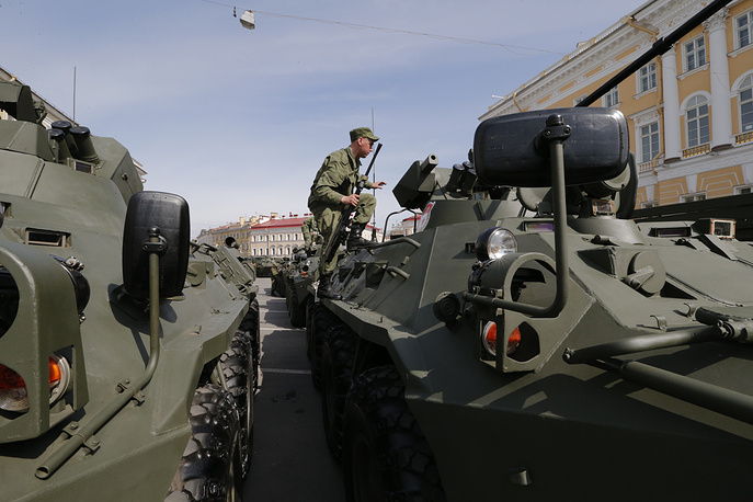 Russian soldiers prepare for a rehearsal for a Victory parade