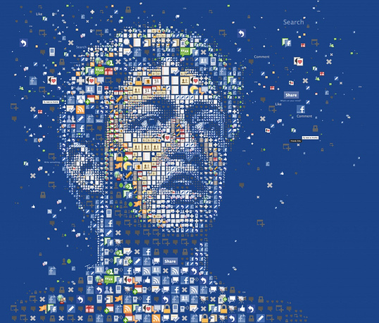 Mark Zuckerberg's portrait made of Facebook icons for the Wired magazine