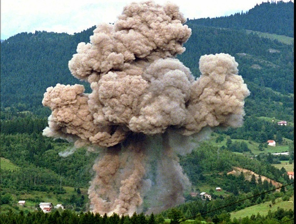 NATO's first operation in Bosnia and Herzegovina in 1994-1995. NATO bombs a Serbian arsenal in Pale, near Sarajevo on August 30, 1995