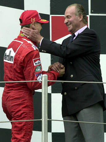 Michael Schumacher congratulated by King Juan Carlos