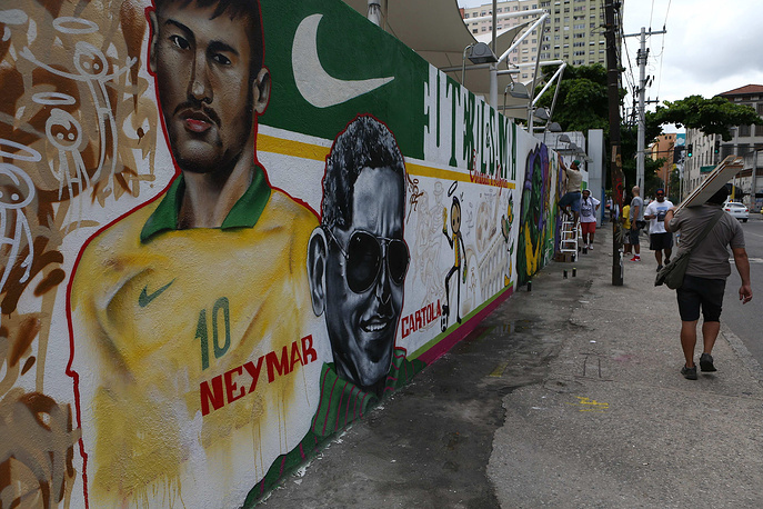 A mural showing Brazilian soccer team forward Neymar
