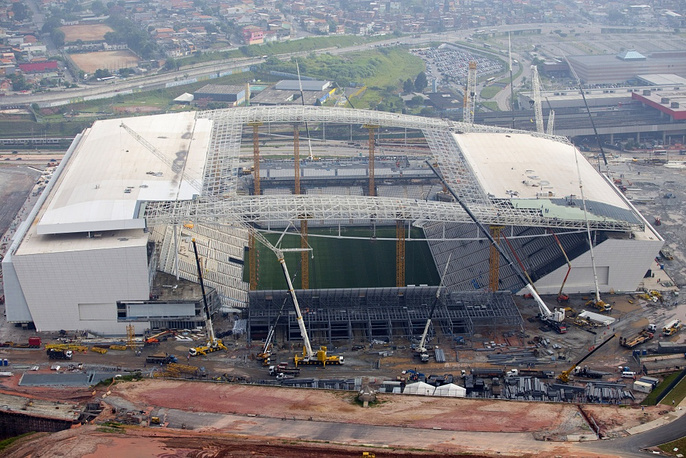 The stadium in Sao Paulo is called Arena Corinthians, after the football team that owns it, but the media call it Itaquera as well. The capacity is 48,000, but for the World Cup it will be increased by 17,000
