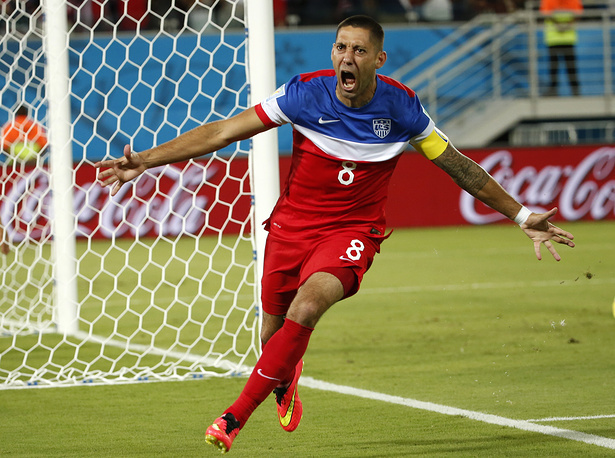 Clint Dempsey of the USA jubilates after scoring the 0-1 goal during the FIFA World Cup 2014 group G preliminary round match between Ghana and the USA