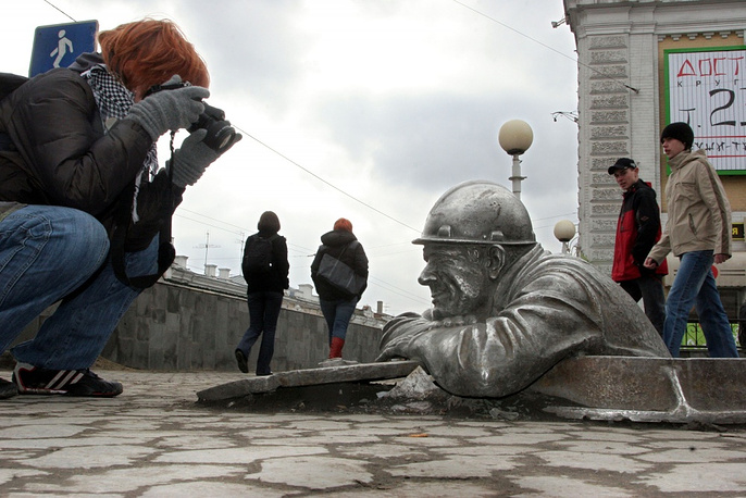 A sculpture of plumber Stepanych in Russia's Omsk
