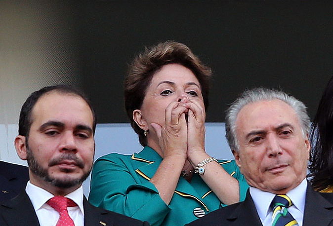Brazil's President Dilma Rousseff watched the first match of the World Cup between Brazil and Croatia