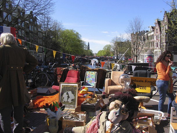 The Dutch celebrate their king's birthday by holding a free market, where people with no special permission sell their old belongings