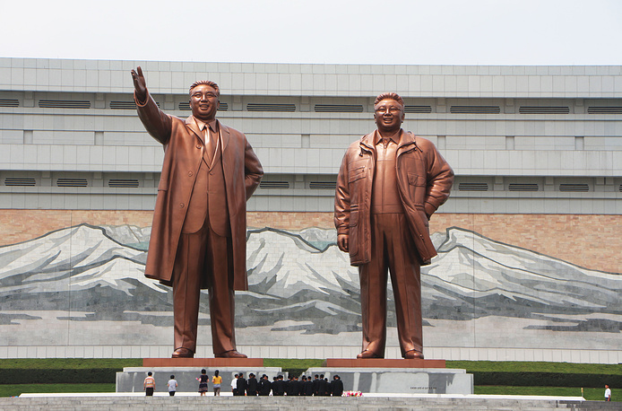 "Monuments of Kim Il Sung and Kim Jong-il. Kim Il Sung is designated in the North Korean constitution as the country's ""Eternal President"""