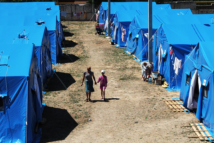 A refugee camp in Sevastopol