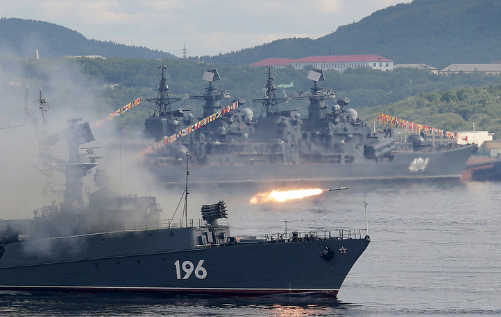 Snezhnogorsk small anti-submarine ship fires a missile during the Navy Day parade in Severomorsk