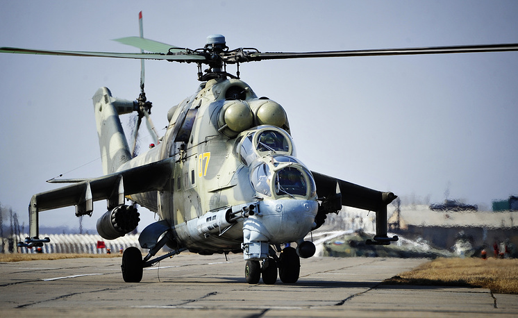 The Mil Mi-24 large helicopter gunship and attack helicopter. The machine holds the world record of helicopter speed at 368,4 km/h