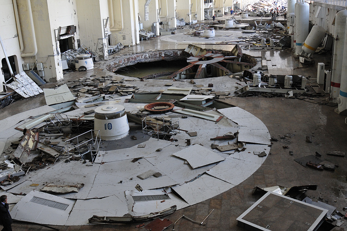 Destructions following an explosion at Russia's largest HPP