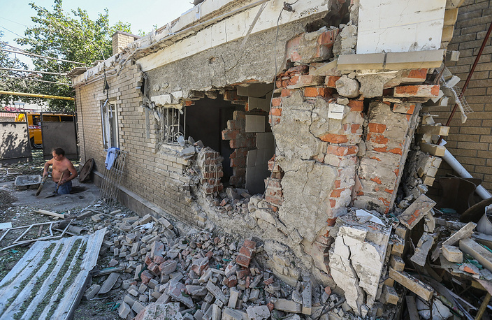 Donetsk after a shelling attack