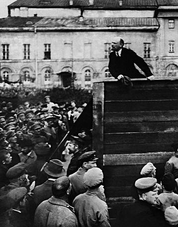 Vladimir Lenin delivering a speech at the Sverdlov Square during a parade of troops on their way to the Polish front, 1920