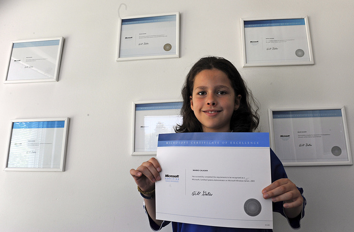 Marko Calasan became the youngest certified computer systems administrator at the age of 8 and the youngest certified computers systems engineer at the age of 9