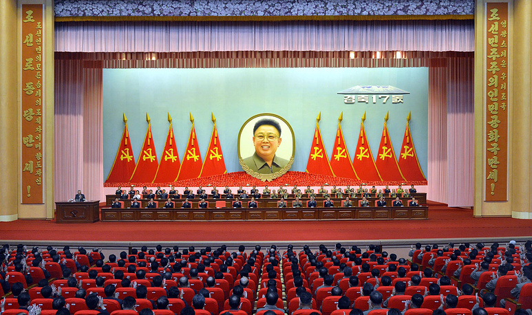 Previously Kim Jong-un did not attend a session marking the 17th anniversary of his father Kim Jong Il's election as Secretary General of the Workers' Party of Korea. Photo: North Korean national meeting at the April 25 House of Culture in Pyongyang, North Korea, 07 October 2014, to mark the 17th anniversary of Kim Jong-il's election as general secretary of the Workers' Party