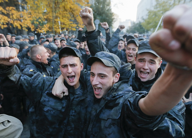 Earlier on Tuesday, Svoboda activists were joined by National Guard fighters