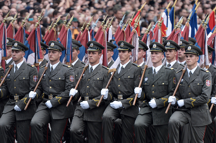 Photo: Serbian Army soldiers participate in a military parade marking the 70th anniversary of the liberation of Belgrade from the Nazi German occupation, 16 October 2014