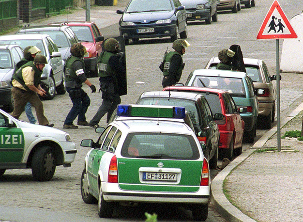 School massacre in Erfurt, Germany occurred on 26 April 2002. 19-year-old expelled student Robert Steinhäuser shot and killed 16 people: 13 faculty members, two students, and one police officer, before committing suicide