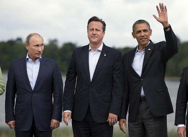 In 2013, the settlement of the conflict in Syria became one of the most acute international problems. This topic prevailed in the negotiations between the leaders of Russia and the US on the sidelines of G8 summit in Northern Ireland. Following this meeting, Barack Obama planned a visit to Moscow, but canceled it due to Edward Snowden's obtaining a temporary asylum in Russia. Photo: Vladimir Putin, David Cameron and Barack Obama, G8 Summit in Northern Ireland, 2013