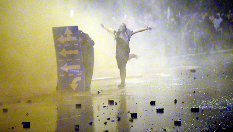 The provokers in masks hurled firecrackers, smoke flares, rocks and Molotov cocktails at police
