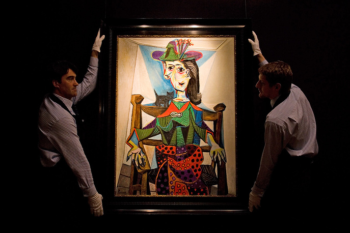 Pablo Picasso's portrait of Dora Maar was sold at Sotheby's auction in 2006 for $95.2 million. It depicts Dora Maar, Picasso's lover, who was painted by him several times over their nearly decade-long relationship