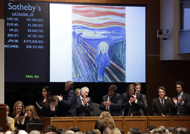 """Edvard Munch's """"The Scream"""" was auctioned at Sotheby's in 2012. It was sold by Norwegian businessman Petter Olsen, whose father was a friend and patron of the artist for $119,9 million"""