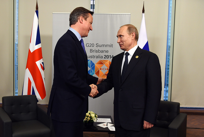 Russia's President Vladimir Putin and British Prime Minister David Cameron held bilateral meeting during the G20 Leaders Summit in Brisbane on 15 November 2014