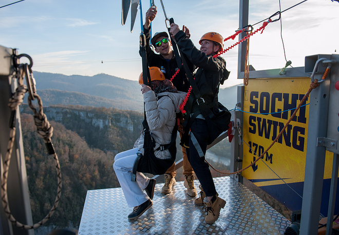 Photo: Sochi Swing, a rope swing over the gorge of the Mzymta River, at Skypark, an extreme sports centre