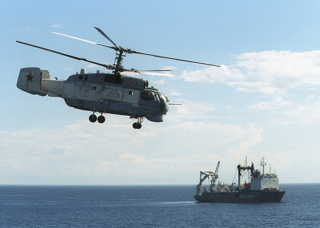 Shipborne anti-submarine helicopter Ka-27 is designed for navy anti-submarine missions. It is capable of detecting modern submarines and decking on aircraft carriers