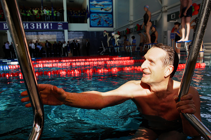 Russian State Duma Speaker takes part in a swim race at the North Caucasus State Humanitarian and Technological Academy