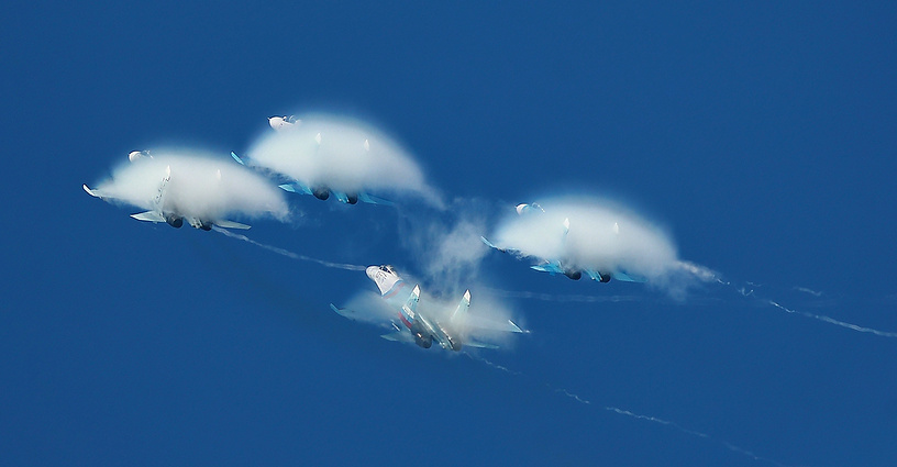 The Russian Falcons aerobatics team takes part in the Open Skies military-patriotic festival in Ivanovo, central Russia