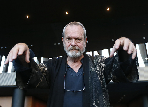 British film director Terry Gilliam before the premier of the Zero Theorem sci-fi thriller at Moscow's Barvikha Luxury Village concert hall
