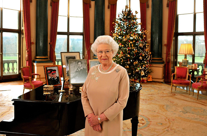Queen's or King's Christmas Message is a broadcast made by the sovereign of the Commonwealth realms to the Commonwealth of Nations each Christmas. Photo: Britain's Queen Elizabeth II standing in the Music Room of Buckingham Palace after recording her Christmas Day message to the Commonwealth, December 22, 2008