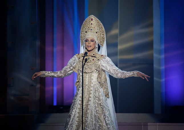 Miss Russia, Yulia Alipova in the national costume during the 63rd annual Miss Universe Competition. The Miss Universe pageant will be held January 25 in Miami, USA