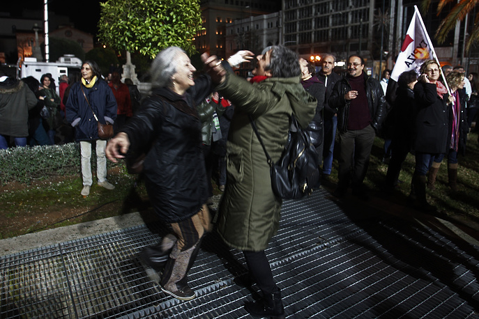 Photo: Supporters of the radical left-wing opposition party Syriza after the initial election results for Greece general elections in Athens