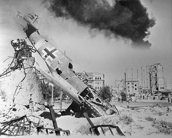 German fighter aircraft Me-109 shooted down in the centre of the riuned city