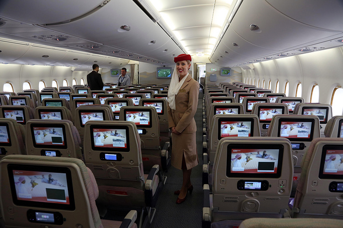 Emirates which is one of two flag carriers of the United Arab Emirates is ranked second. Photo: A stewardess inside an Emirates A380 aircraft