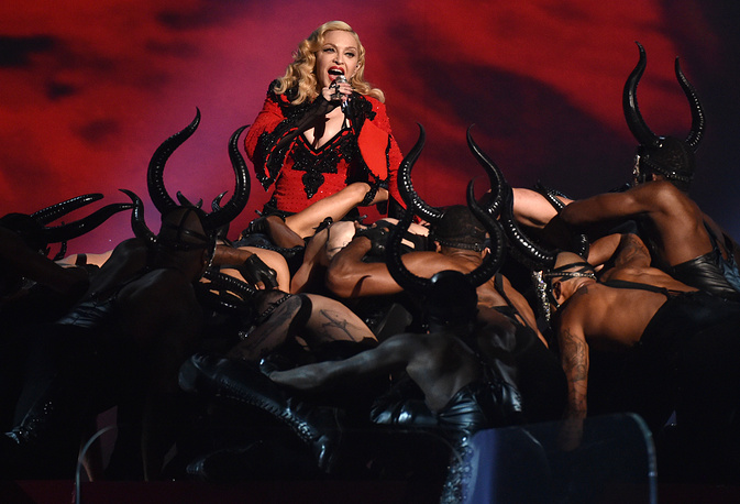 Madonna performing at the 57th Grammy Awards in Los Angeles