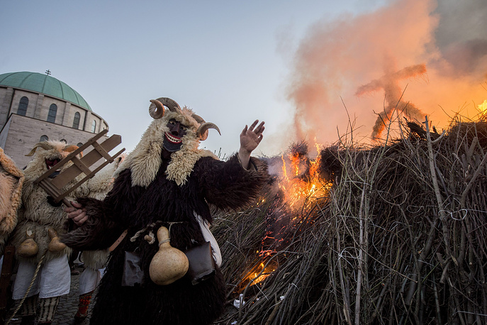 Busho carnival parade in Mohacs, Hungary. The traditional carnival marks the end of winter